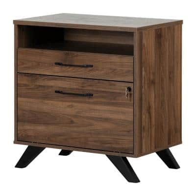 Helsy Natural Walnut Decorative Lateral File Cabinet with 2-Drawers