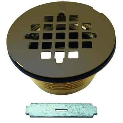 2 in. Brass Shower Drain with Grid in Oil Rubbed Bronze