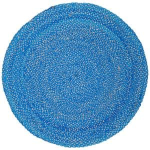 Natural Fiber Blue/Beige 4 ft. x 4 ft. Round Area Rug