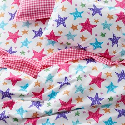 Bright Stars Multicolored Graphic 200-Thread Count Organic Cotton Percale Standard Pillowcase (Set of 2)