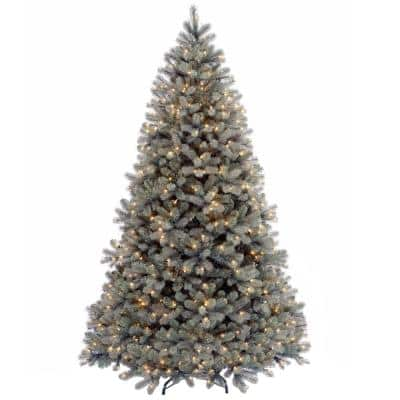 7-1/2 ft. Feel Real Downswept Douglas Blue Fir Hinged Artificial Christmas Tree with 750 Clear Lights