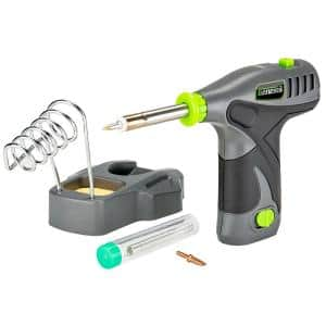 8V Lithium-Ion GLSI08B Cordless Soldering Iron with Iron Holder, Solder Wire, 2 Tips, Battery and Charger