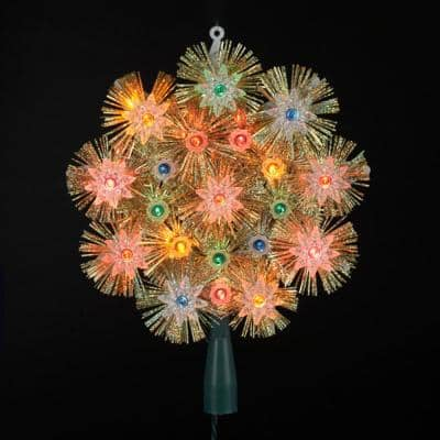 8 in. Retro Gold Tinsel Snowflake Christmas Tree Topper - Multi Lights