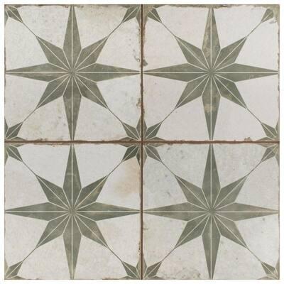 Kings Star Sage Encaustic 17-5/8 in. x 17-5/8 in. Ceramic Floor and Wall Tile (11.02 sq. ft./Case)