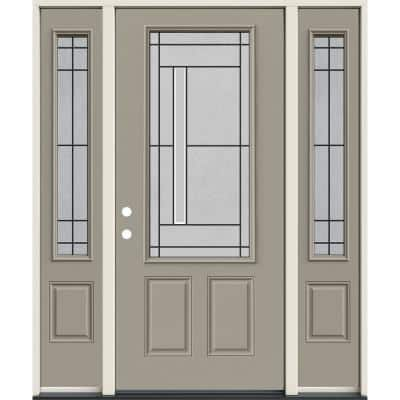 60 in. x 80 in. Right-Hand 3/4-Lite Atherton Decorative Glass Desert Sand Steel Prehung Front Door with Sidelites