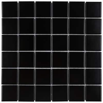 Metro Quad Matte Black 12 in. x 12 in. Porcelain Mosaic Tile (9.79 sq. ft./Case)