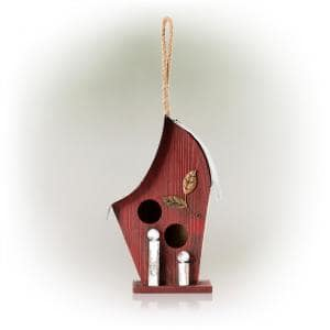 12 in. Tall Outdoor Hanging Wood and Metal Birdhouse, Red