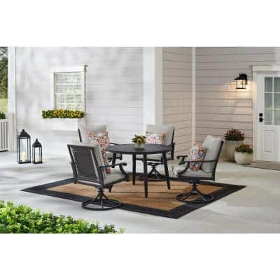 Braxton Park 5-Piece Black Steel Outdoor Patio Dining Set with CushionGuard Stone Gray Cushions