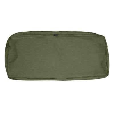 Montlake Fadesafe 42 in. W x 18 in. D x 3 in. H Rectangular Bench/Settee Seat Cushion Slip Cover in Heather Fern Green