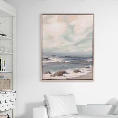 Stormy Shore Coastal Framed Canvas Wall Art