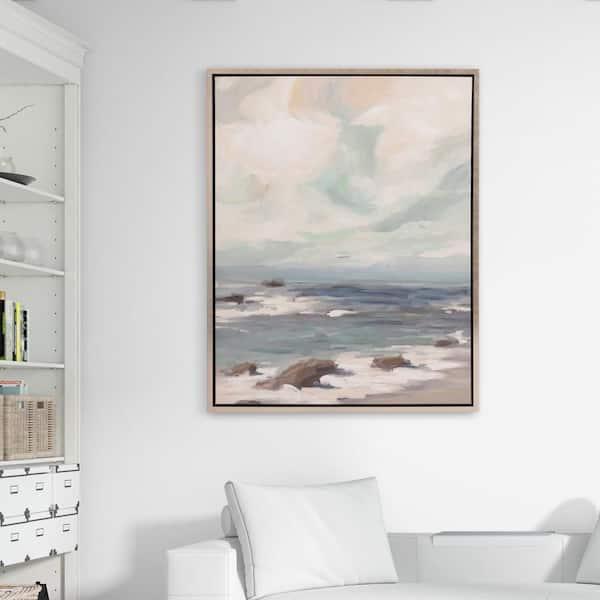 Pinnacle Stormy Shore Coastal Framed Canvas Wall Art 1711 3380 The Home Depot