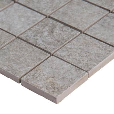 Brixstyle Gris 12 in. x 12 in. x 10mm Matte Porcelain Mesh-Mounted Mosaic Tile (6 sq. ft./Case)