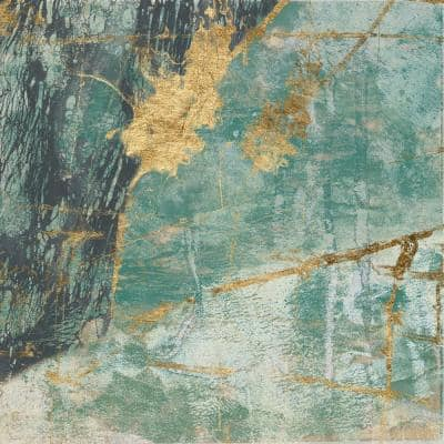 "72 in. x 72 in. ""Teal Lace I"" by Jennifer Goldberger Canvas Wall Art"