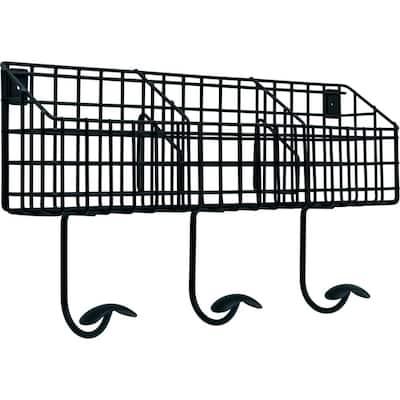 17.75 in. Flat Black Industrial Basket Hook Rail