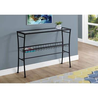 42 in. Black Standard Rectangle Glass Console Table with Storage
