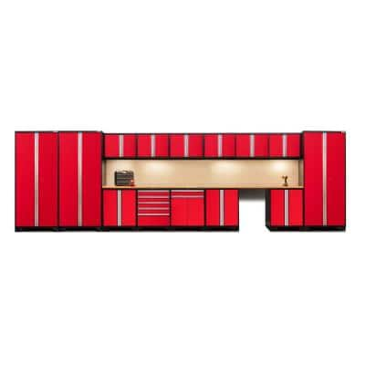 Pro Series 276 in. W x 85.25 in. H x 24 in. D 18-Gauge Steel Garage Cabinet Set in Red (16-Piece)