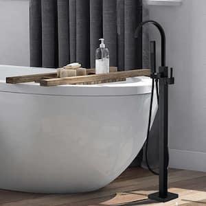 Single-Handle Freestanding Floor Mount Level Handle Tub Faucet in Matt Black Industrial Style Tub Faucet