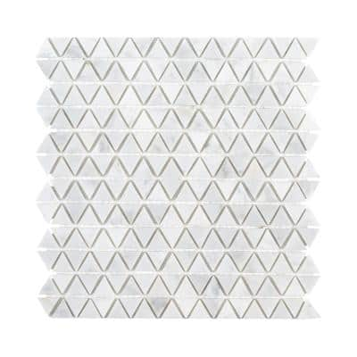 Evelyn White 11.375 in. x 11.875 in. Triangle Polished Marble Wall and Floor Mosaic Tile (0.938 sq. ft./Each)
