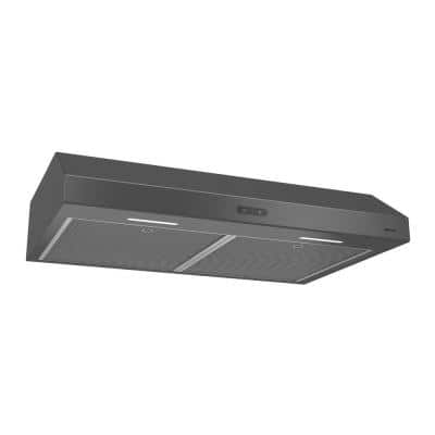 Glacier Deluxe 30 in. Convertible Under Cabinet Range Hood with Light in Black Stainless