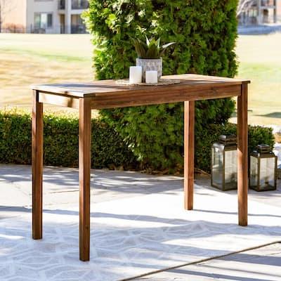 Dark Brown Rectangle Acacia Wood Counter Height Patio Outdoor High Top Table
