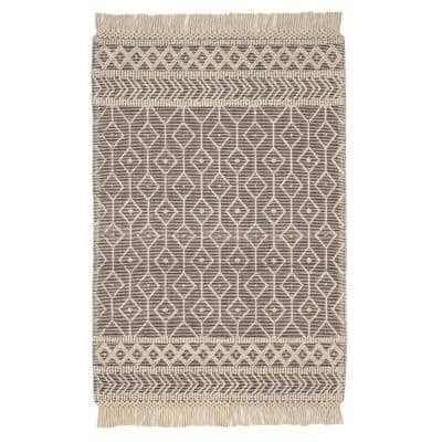 Winchester Cream/Black 6 ft. x 9 ft. Wool Area Rug