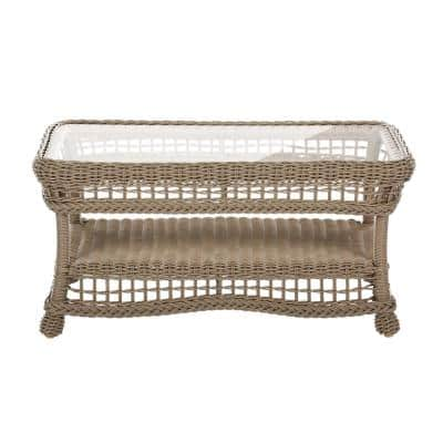 Saturn Rectangular Wicker Outdoor Coffee Table with Glass Top