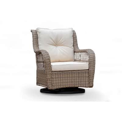Rio Vista Swivel Wicker Outdoor Rocking Chair with Beige Cushion