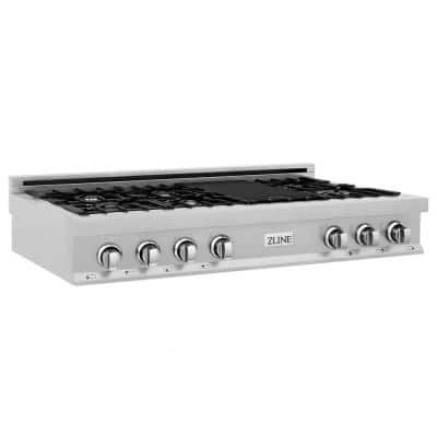 ZLINE 48 in. Porcelain Gas Stovetop in DuraSnow Stainless Steel with 7 Gas Burners and Griddle (RTS-48)