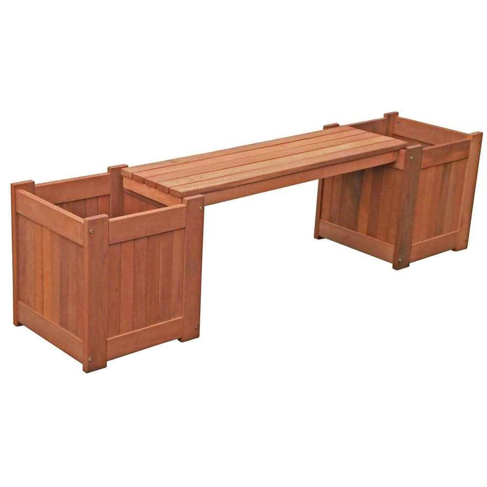 Lautan Brighton Wood Outdoor Bench With Planter Boxes 88866 The Home Depot