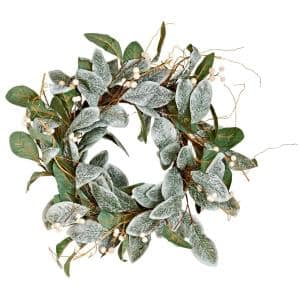 22 in. Magnolia Leaves Wreath with White Berries