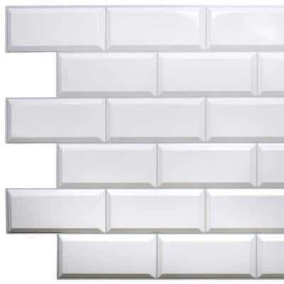3D Falkirk Retro III 38 in. x 19 in. Pearl White Faux Tile PVC Decorative Wall Paneling (10-Pack)