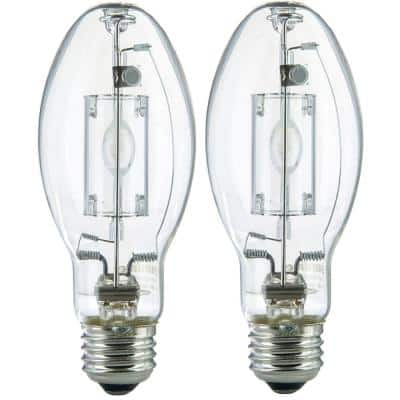 100-Watt ED17 Protected Metal Halide Medium E26 Base Pulse Start 8,500 Lumen Outdoor HID Light Bulb, 4000K (2-Pack)