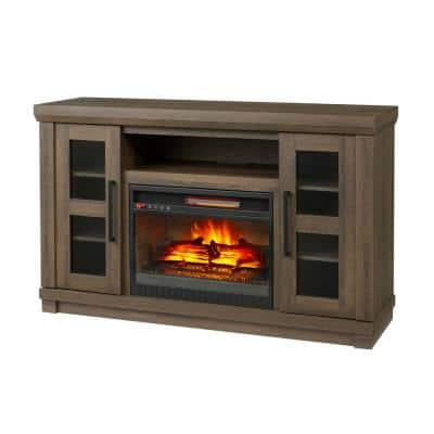 Caufield 54 in. Media Console Infrared Electric Fireplace in Honey Ash