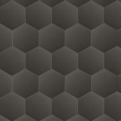 9 in. x 10.5 in. Glassel Nero Hexagon Matte Porcelain Floor and Wall Tile ( 6.89 sq. ft./Case)
