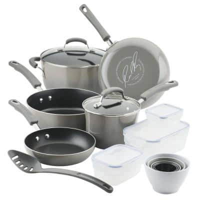19-Piece Sea Salt Gray Nonstick Cookware Set with Containers