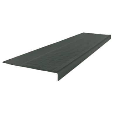 Low Profile Raised Circular Design Black Brown 12.5 in. x 48 in. Rubber Square Nose Stair Tread