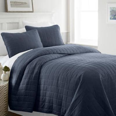 Square Navy King Performance Quilted Coverlet Set