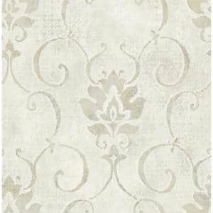 Brilliant Metallic Pearl and Greige Damask Paper Strippable Roll (Covers 56.05 sq. ft.)