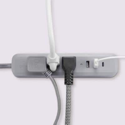 Designer Series 6 ft. 3-Outlet Gray USB Surge Protector Power Strip