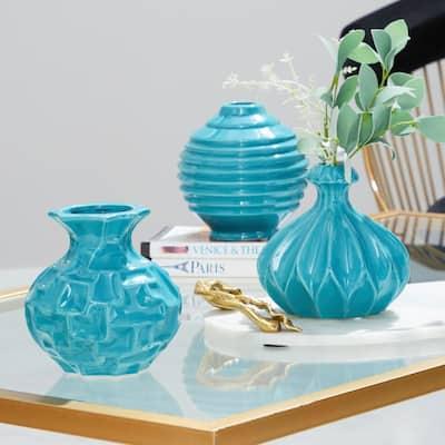 6 in. Modern Teal Blue Ceramic Decorative Vases (Set of 3)