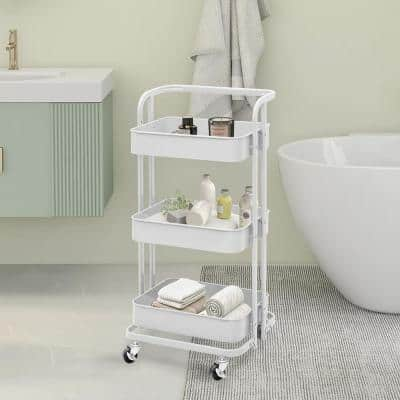 35 in. 3 Tier Metal Foldable Rolling Utility Cart in White