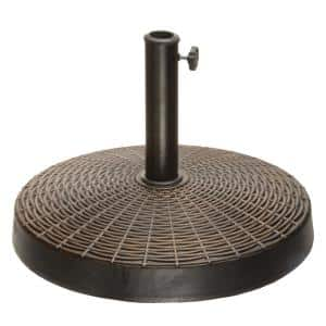 21 in. Round Resin Umbrella Base with Basket Weave Design in Black
