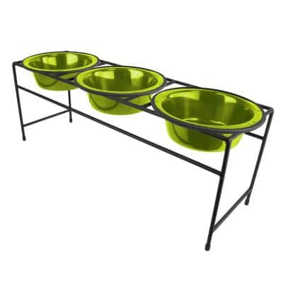 Modern Triple Diner Feeder with Stainless Steel Cat/Dog Bowls, Corona Lime