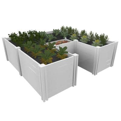 Classic 6 in. x 6 in. White Vinyl Keyhole Garden Bed