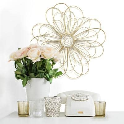 Gold Metal Wire Flower Wall Decor