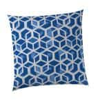 Blue Square Cubed Outdoor Throw Pillow