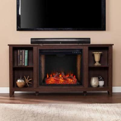 Colton Alexa Enabled 55.5 in. Electric Smart Fireplace in Espresso