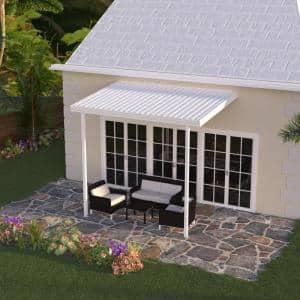 12 ft. x 8 ft. White Aluminum Attached Solid Patio Cover with 2 Posts (10 lbs. Live Load)
