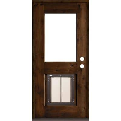 36 in. x 80 in. Left Hand 1/2 Lite Clear Glass Provincial Stained Wood Prehung Door with Large Dog Door