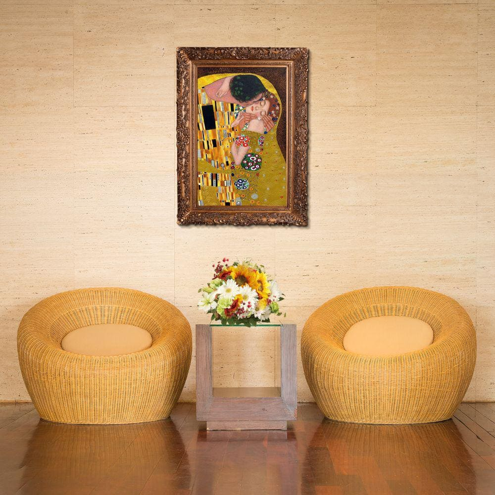 La Pastiche 46 In X 34 In The Kiss Luxury Line With Burgeon Gold Frame By Gustav Klimt Framed Wall Art Klg1619 Fr 256g24x36 The Home Depot